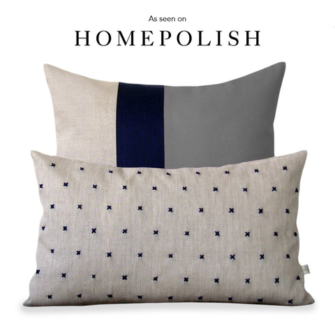 As seen on HOMEPOLISH - Colorblock and Stitched Linen Pillow Set by JILLIAN RENE DECOR