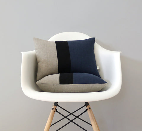 Colorblock Pillow - Navy/Black/Natural by Jillian Rene Decor