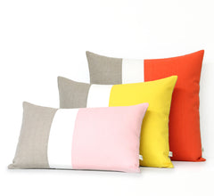 Colorblock Pillow Covers by Jillian Rene Decor - Coral, Yellow or Pastel Pink