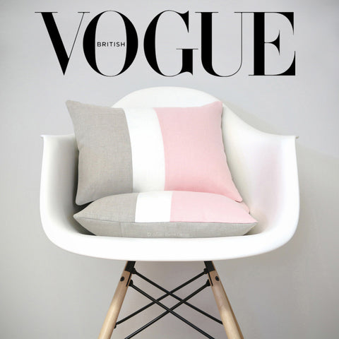 Rose Quartz Colorblock Pillows as seen in Vogue Magazine