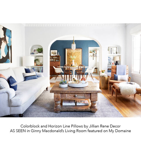 Colorblock and Horizon Line Pillows by Jillian Rene Decor AS SEEN in Ginny Macdonald's Living Room featured on My Domaine