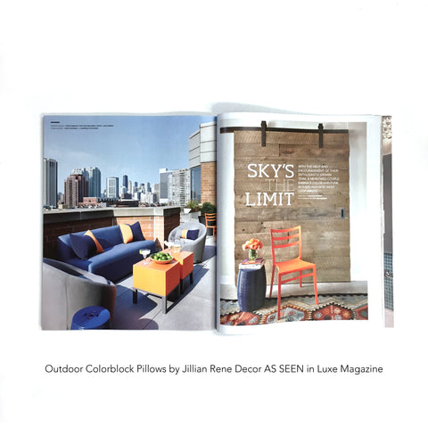Outdoor Colorblock Pillows by Jillian Rene Decor AS SEEN in Luxe Magazine