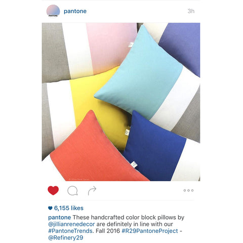 Signature Colorblock Pillows by Jillian Rene Decor as seen on Pantone's Instagram