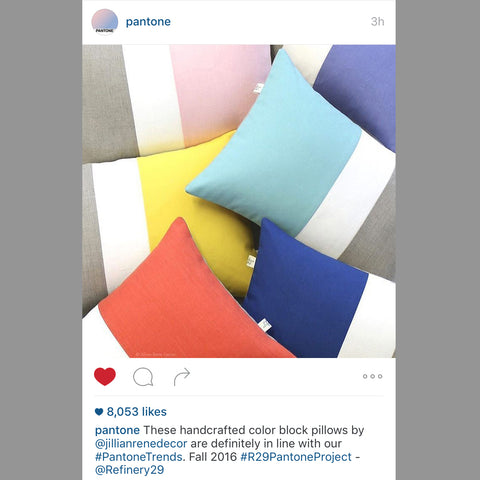 Jillian Rene Decor Colorblock Pillows as seen on Pantone's Instagram