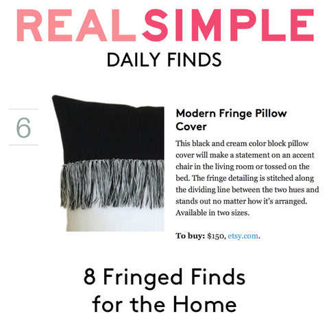 Modern Fringe Pillow by JILLIAN RENE DECOR as seen Real Simple's Daily Finds