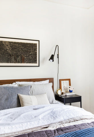 Bedroom featuring Minimal Striped Linen Lumbar Pillow by Jillian Rene Decor