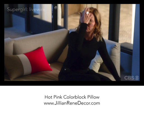 AS SEEN on the CBS hit series Supergirl: Hot Pink Colorblock Pillows by Jillian Rene Decor