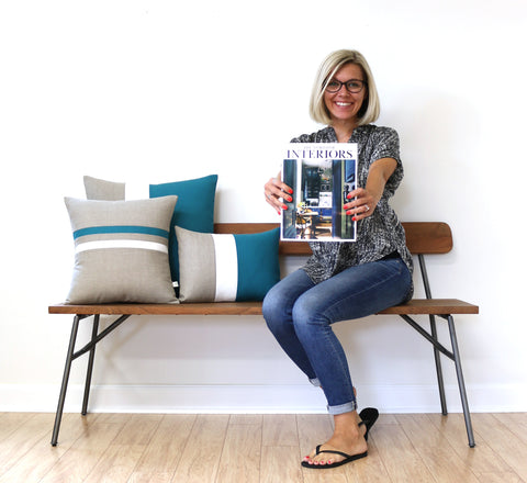 Colorblock Pillows by Jillian Rene Decor as seen in the August Issue of The World of Interiors Magazine
