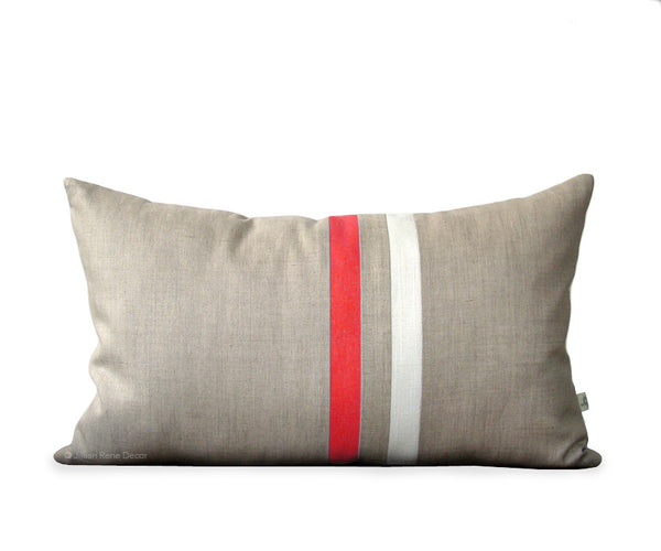 Striped Pillow - Coral/Cream/Natural