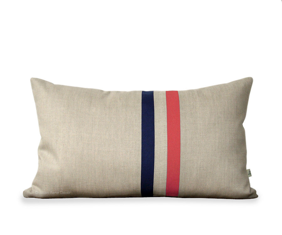 Striped Pillow - Coral, Navy and Natural