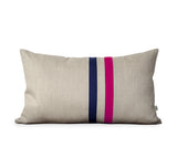 Striped Pillow - Hot Pink/Navy/Natural