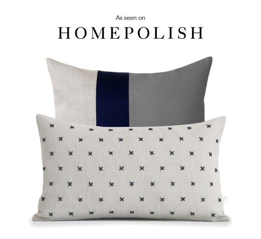 As seen on HOMEPOLISH - Colorblock and Stitched Linen Pillow Set