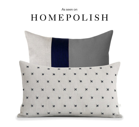 As seen on HOMEPOLISH - Colorblock and Stitched Linen Pillow Cover Set