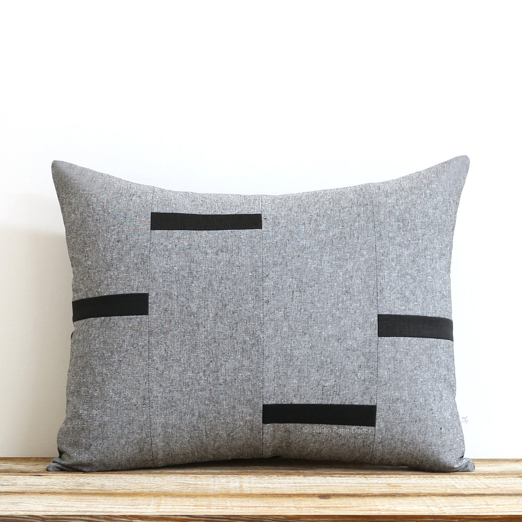 Interconnection Pillow - Black and Black Chambray