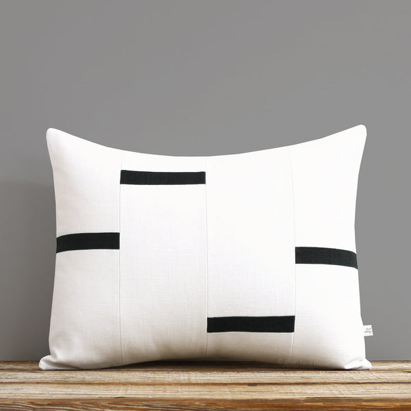 Interconnection Pillow - Black and Cream