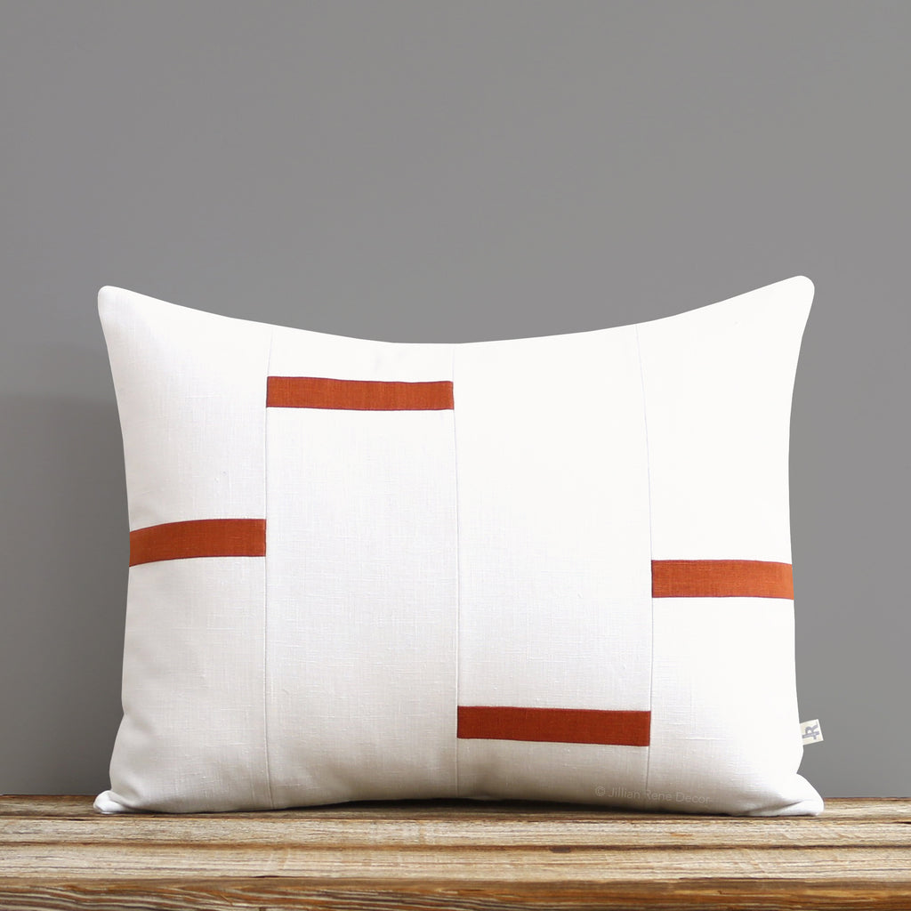 Interconnection Pillow - Burnt Orange and Cream