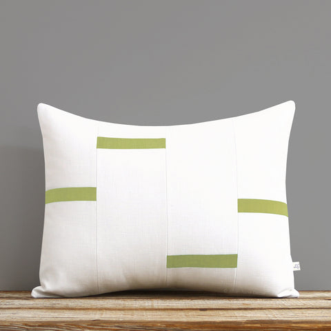Interconnection Pillow - Linden Green and Cream