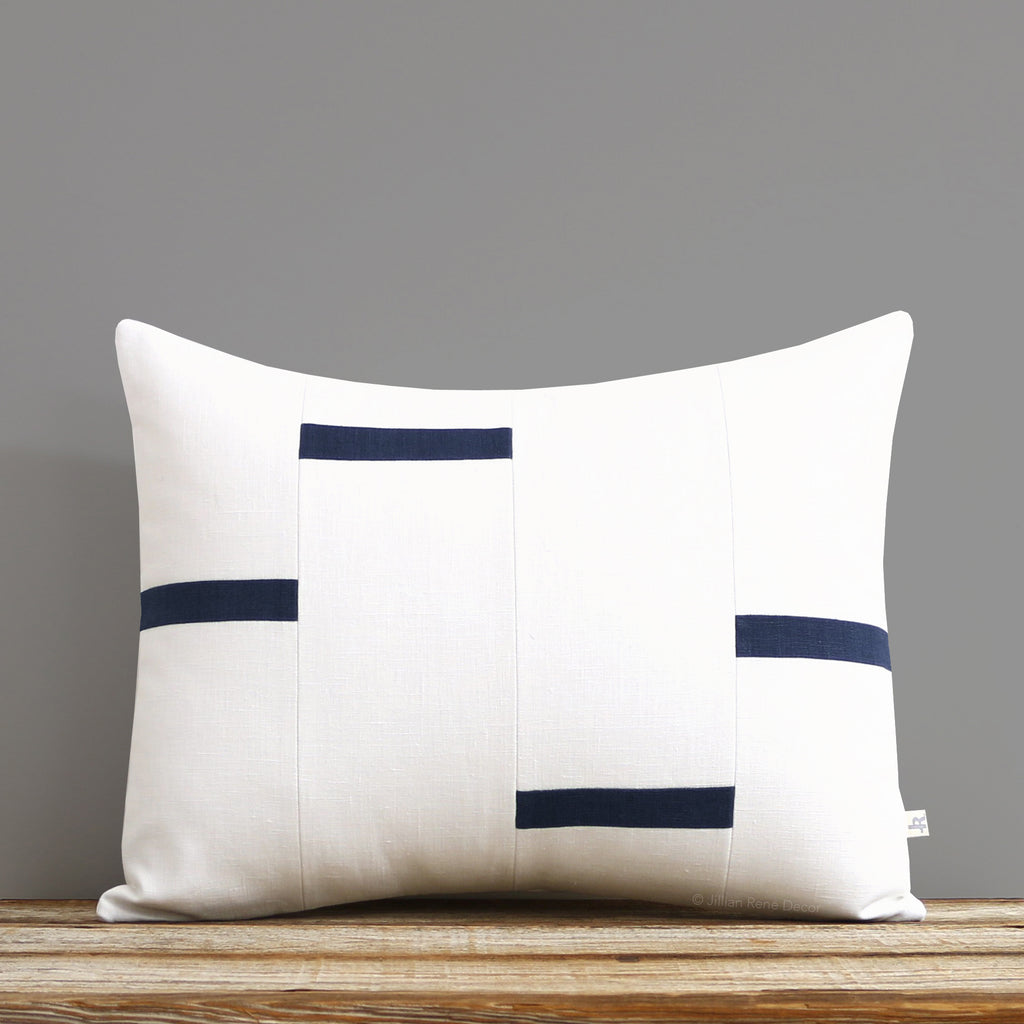 Interconnection Pillow - Navy and Cream