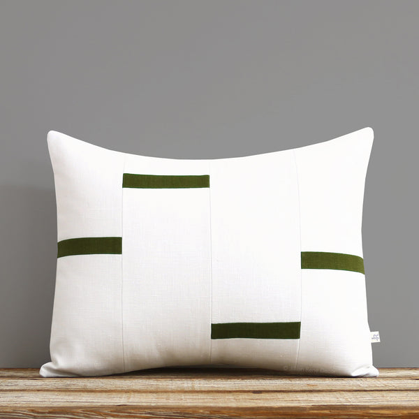 Interconnection Pillow - Olive and Cream