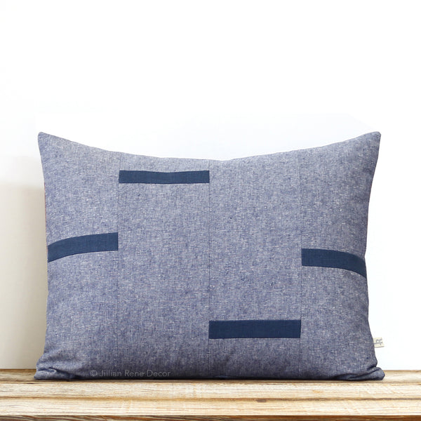 Interconnection Pillow - Navy and Navy Chambray