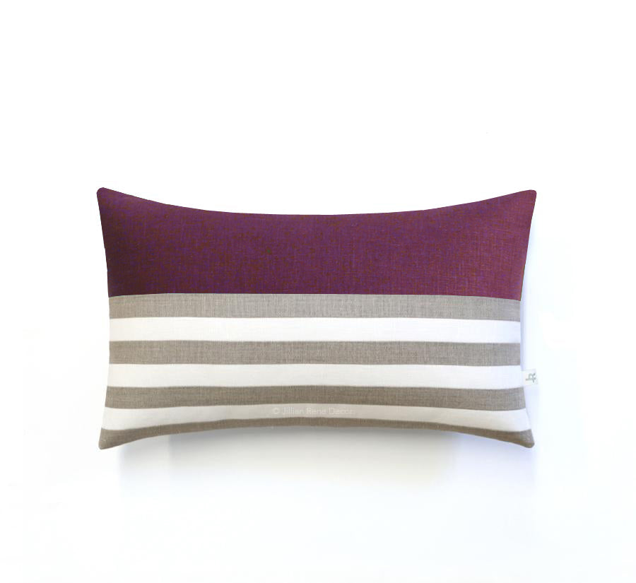 Breton Stripe Pillow - Amethyst, Cream and Natural