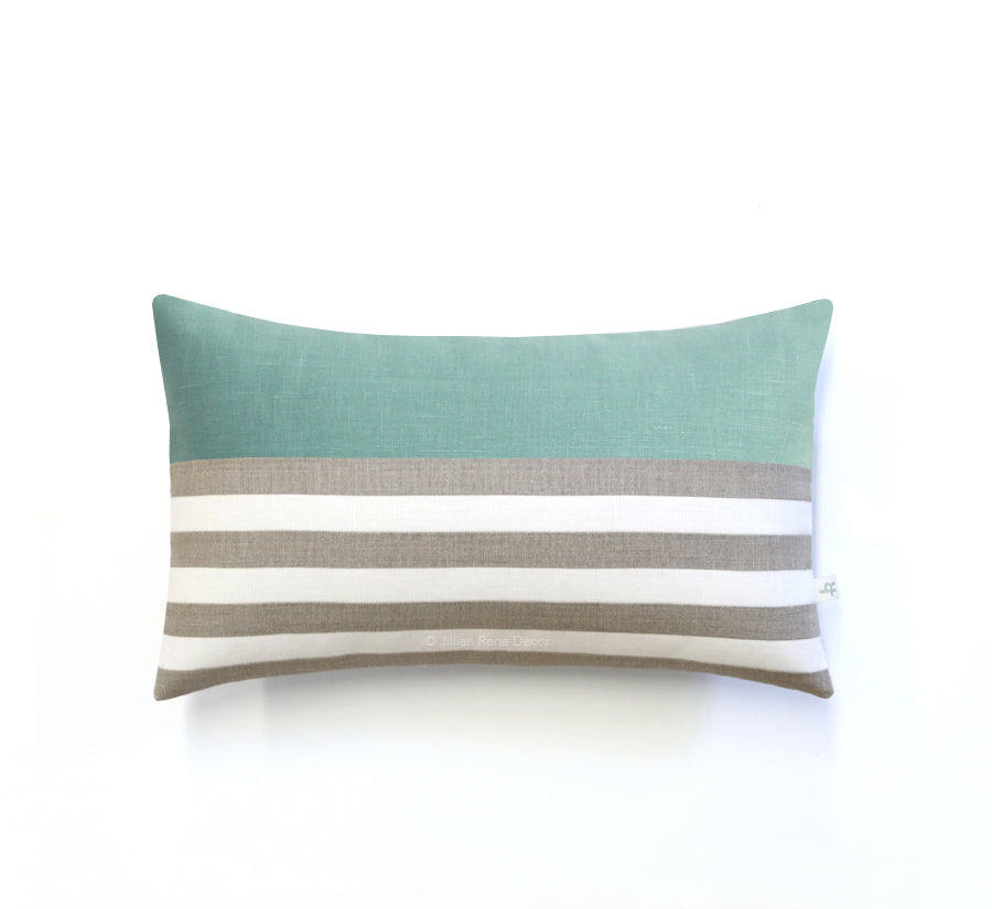Breton Stripe Lumbar Pillow - Natural, Cream and Aqua