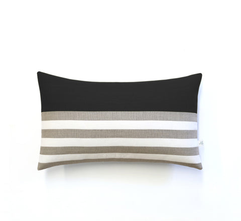 Breton Stripe Lumbar Pillow - Black, Cream and Natural