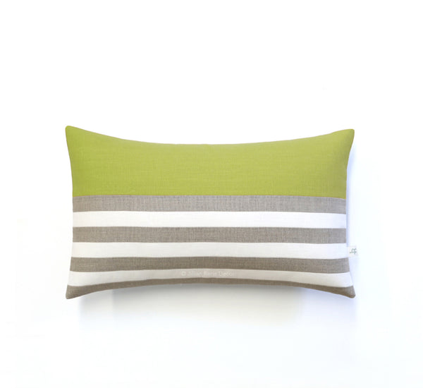 Breton Stripe Lumbar Pillow - Natural, Cream and Linden
