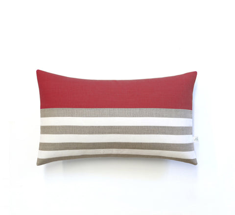 Breton Stripe Lumbar Pillow - Natural, Cream and Marsala