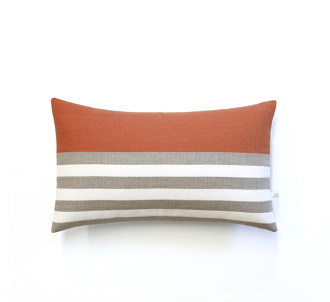 Breton Stripe Lumbar Pillow - Natural, Cream and Sienna
