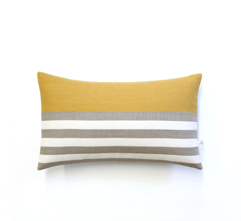 Breton Stripe Lumbar Pillow - Natural, Cream and Squash Yellow