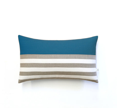 Breton Stripe Lumbar Pillow - Natural, Cream and Teal