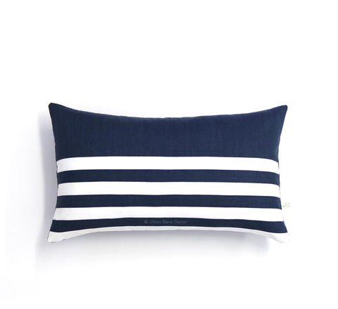 Breton Stripe Lumbar Pillow - Navy and Cream