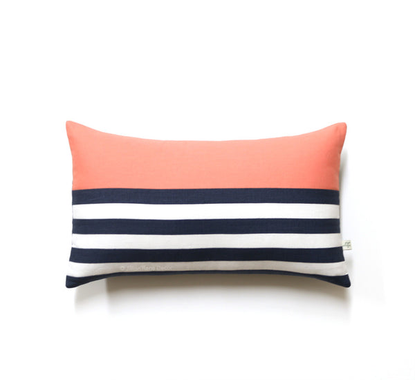 Breton Stripe Lumbar Pillow - Navy / Cream / Cantaloupe