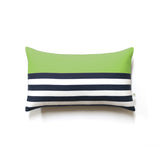 Breton Stripe Lumbar Pillow - Navy / Cream / Lime
