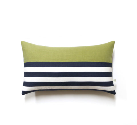 Breton Stripe Lumbar Pillow - Navy / Cream / Linden