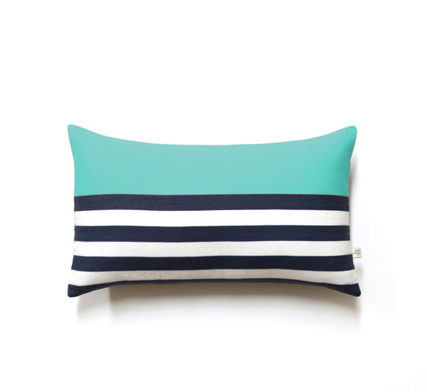 Breton Stripe Lumbar Pillow - Navy / Cream / Mint