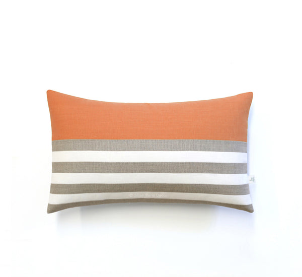Breton Stripe Lumbar Pillow - Natural, Cream and Pumpkin