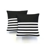 Multi Stripe Lumbar Pillow - Black and Cream