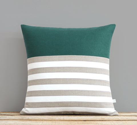Breton Stripe Pillow - Jade, Cream and Natural