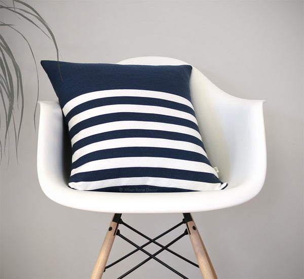Breton Stripe Pillow in Navy by Jillian Rene Decor