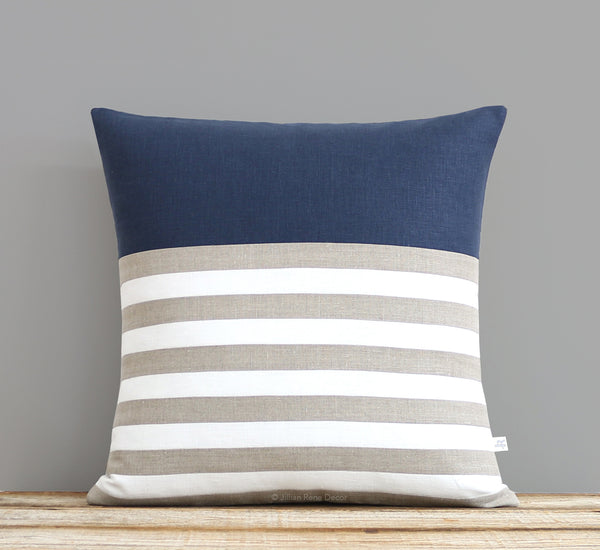 Breton Stripe Pillow - Navy, Cream and Natural