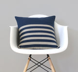 Breton Stripe Pillow - Navy and Natural