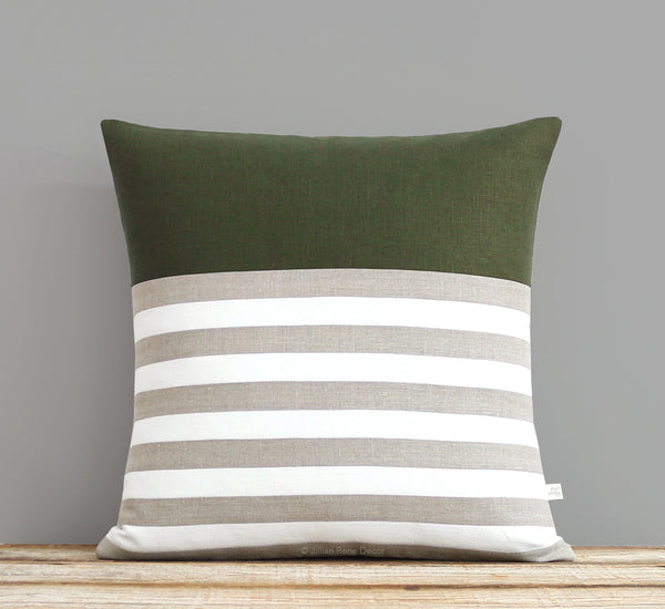 Breton Stripe Pillow - Olive, Cream and Natural