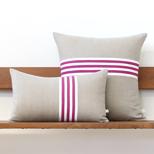 Banded Stripe Pillow - Sangria, Cream and Natural