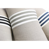 Banded Stripe Pillow - Navy, Cream and Natural