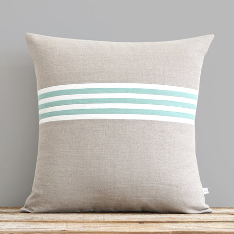 Banded Stripe Pillow - Aqua, Cream and Natural