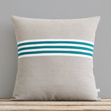 Banded Stripe Pillow - Biscay, Cream and Natural
