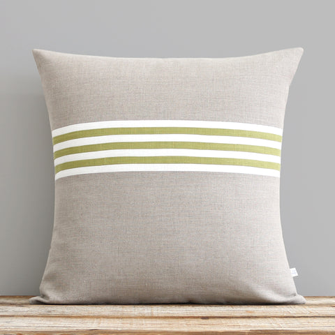 Banded Stripe Pillow - Linden, Cream and Natural