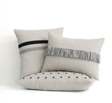 Stitched Linen Pillow - Black and Natural